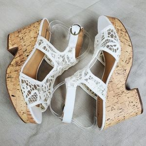 American Eagle Outfitters Shoes - AEO Cream Lace Crochet Cork Sandal Wedge Heels 10